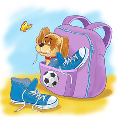 A cute puppy. Illustration for children. Funny cartoon character