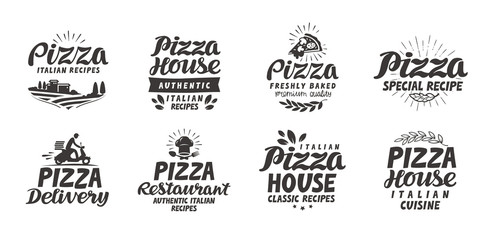 Pizza, food set icons. Collection lettering, labels for menu design restaurant or cafe