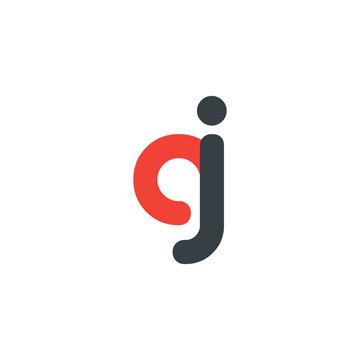 Initial Letter GJ AJ CJ Rounded Lowercase Logo