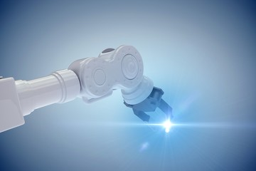 Composite image of closeup of metal claw of robotic hand 3d