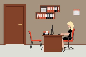 Web banner of an office worker in the room near the door. The young woman is an employee at work. There is brown furniture, red chairs, shelves with folders in the picture. Vector flat illustration