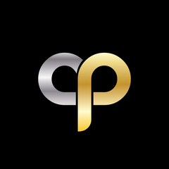 Initial Letter CP OP Rounded Lowercase Logo