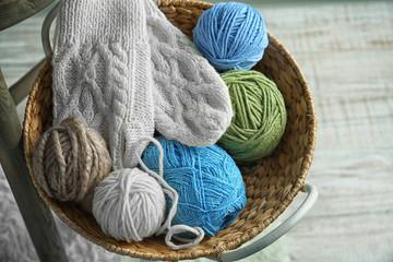 Wicker basket with knitting yarn, closeup