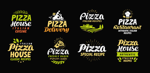Vector pizza set icons, labels, symbols, signs, design elements