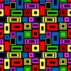 Seamless vector geometrical pattern. Endless colorful background with squares and rectangles. Graphic illustration. Template for cover, fabric, wrapping.