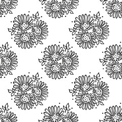 Vector floral illustration. Seamless pattern bouquet with flowers, leaves, decorative elements on the white background. Hand drawn contour lines and strokes. Doodle style, graphic vector illustration