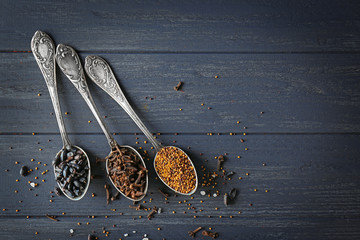 Foto auf Acrylglas Gewürze 2 Assortment of spices in spoons on wooden background