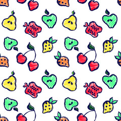 Seamless vector pattern with cute childish hand drawn  fruits Colorful doodle background with line drawing sketch apple, pear, strawberry. cherry, berry. pomegranate Graphic repeat doodle illustration