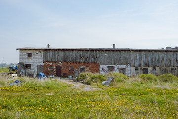 Wide view of farm buildings