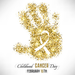 Shape of child s hand from golden glitter with ribbon inside. Childhood Cancer day in February 15 isolated on white background. Vector illustration