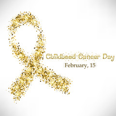 Shape of gold ribbon from golden glitter. Childhood Cancer day in February 15 isolated on white background. Vector illustration