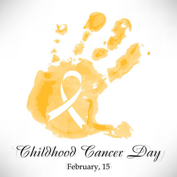 Shape of yellow watercolor childs hand with ribbon inside. Childhood Cancer day in February 15 isolated on white background. Vector illustration
