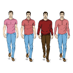 Vector Set of Sketch Fashion Male Models