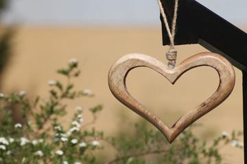 Wooden heart in detail
