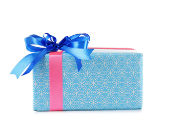 Gift box with blue bow isolated on white background