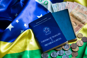Brazilian working document and social security with Brazilian money and currency and Brazilian flag