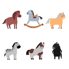 Different horses breed vector set.