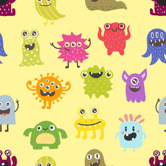 Photo sur Aluminium Creatures Cute monsters seamless pattern vector.