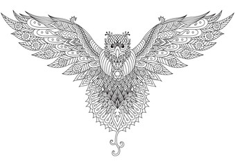 Flying falcon zendoodle design for t-shirt graphic,tattoo,logo and adult coloring book pages