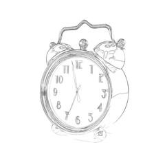 Retro Alarm Clock - Sketch A pen or pencil sketch of a retro style alarm clock.