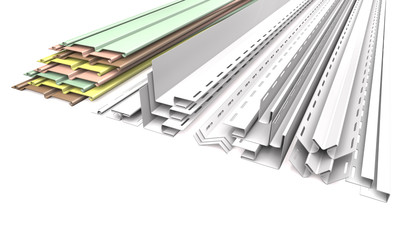 Panel siding and profiles on a white background (3d illustration