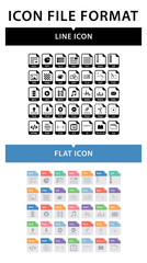 File format icon set. File format in flat style. File format in line style. Document types signs. Isolated set of documents file formats