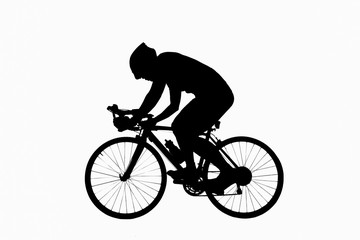 Male bicyclist riding isoated on white background. use clipping