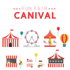 Collection with carniva, fun fair, vector icons and background and illustration