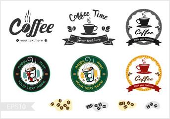 Set of retro coffee badge label logo design