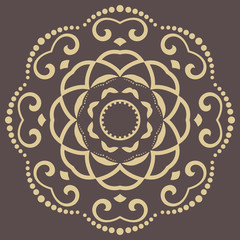 Oriental round pattern with arabesques and floral elements. Traditional classic ornament. Brown and golden pattern