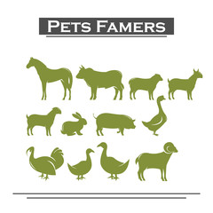 farmers pets, silhouette animals set