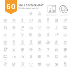 Set of Thin Line SEO and Development icons Vector Illustration