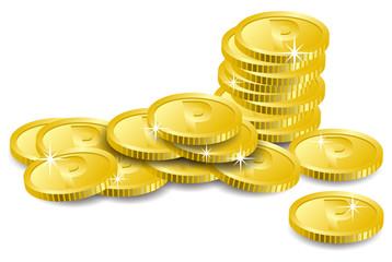 乱雑に置かれたコインのイメージイラスト