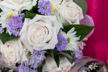 Close up bouquet of mixed flowers