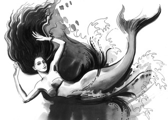Mermaid in dark sea