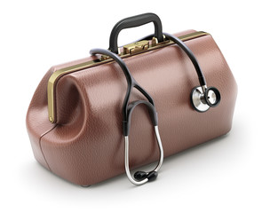Retro brown leather doctor's bag with the stethoscope