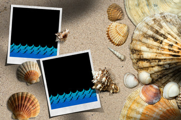 Beach Vacations - Seashells on a sandy beach with blank instant photo frames and blue waves