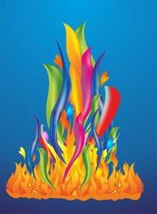 kolorowy płomiń i ogniki