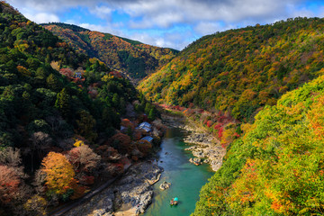 Fototapete - Hozu River in autumn view from Arashiyama view point, Kyoto, Jap