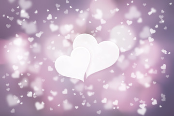 Beautiful blurry heart symbols on pink violet bokeh illustration background with two blank white heart shapes.