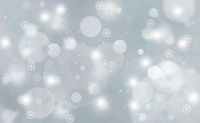 Abstract silver blue blurred light with snowflakes. Copy space illustration background.