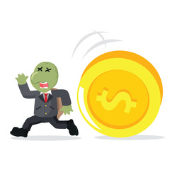 business turtle running from giant coin