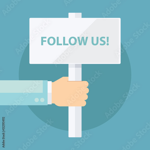 Male hand holding Follow Us! signboard. Template for digital ...