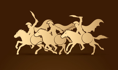 3 Spartan warrior riding horses graphic vector.