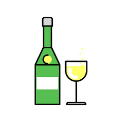 Alcohol. Champagne bottle filled with glass. Vector linear flat