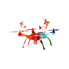 Colorful drone and butterflies isolated vector illustration