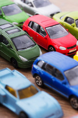 Close up of colorful toy cars. Shallow DOF.