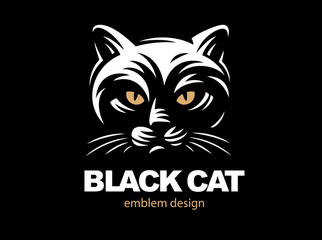 Black cat face logo - vector illustration