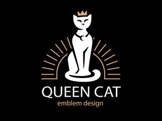 Cat Queen logo design on black background