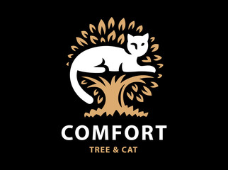 Cat and tree logo design on black background